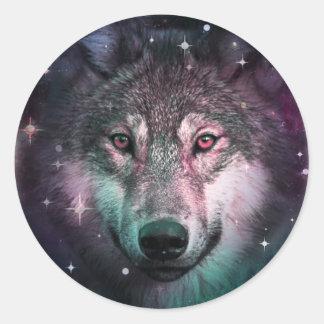 Space Wars Wolf Face Animal Design Round Sticker