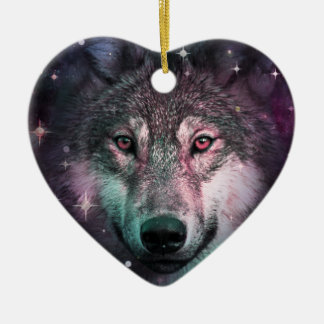 Space Wars Wolf Face Ceramic Heart Decoration