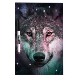 Space Wars Wolf Face Dry Erase Board