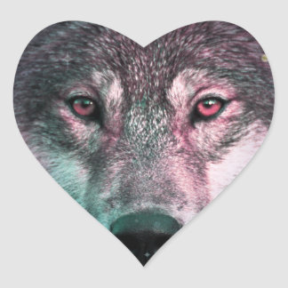 Space Wars Wolf Face Heart Sticker