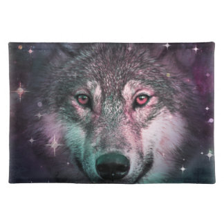 Space Wars Wolf Face Placemat