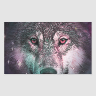 Space Wars Wolf Face Rectangular Sticker