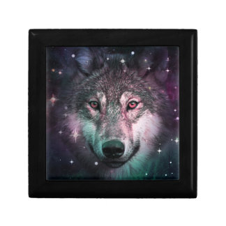 Space Wars Wolf Face Small Square Gift Box