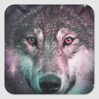 Space Wars Wolf Face Square Sticker