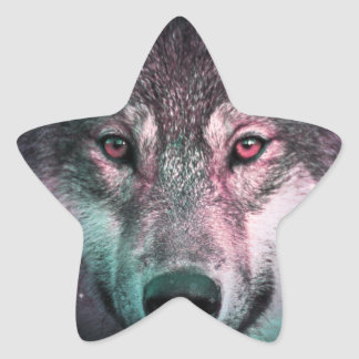 Space Wars Wolf Face Star Sticker