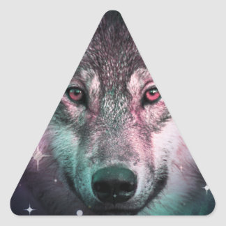 Space Wars Wolf Face Triangle Sticker