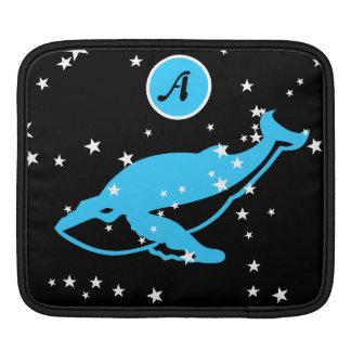 space whale blue ipad sleeve