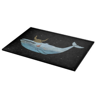 Space Whale Glass Chopping Board