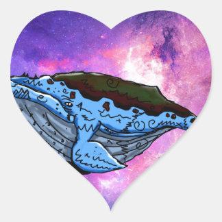 space whale heart sticker
