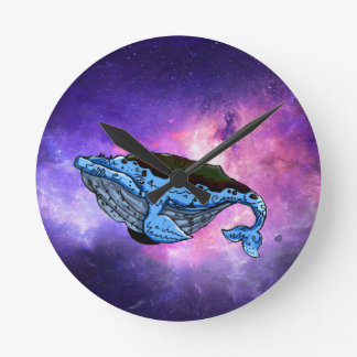 space whale round clock
