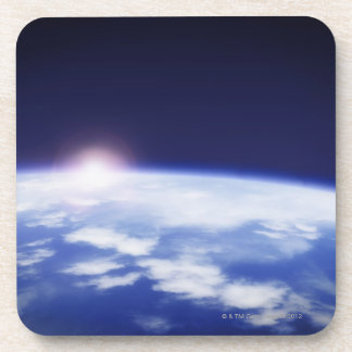 Space with rising sun above planet earth drink coasters