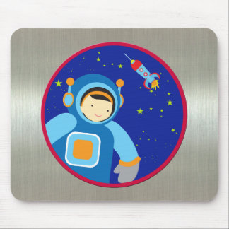 Spaceboy Floating Outside the Spaceship Mouse Pad