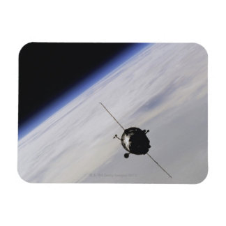 Spacecraft in outer space rectangle magnets