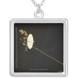 Spacecraft in Space Silver Plated Necklace