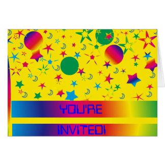 Spaced Out Birthday party Invitation Note Card