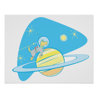 SpaceDog with Jetpack Posters
