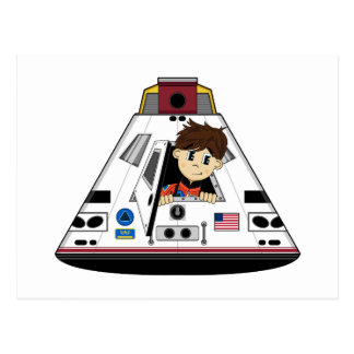 Spaceman and Capsule Postcard
