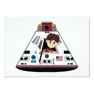 """Spaceman and Capsule RSVP Card 3.5"""" X 5"""" Invitation Card"""