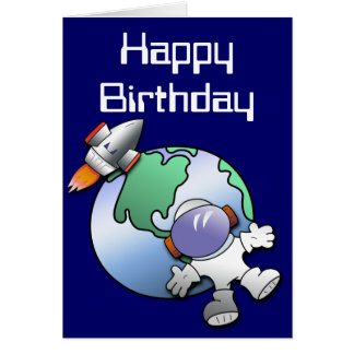 Spaceman and Planet Earth Birthday Greeting Card