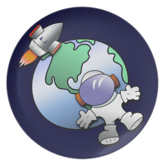 Spaceman and Planet Earth Plate