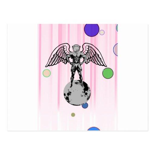 spaceman angel bodybuilder post card