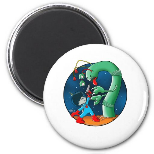 Spaceman & Dinosaur Worm Magnet