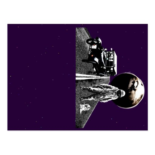 spaceman hitch hiker post card