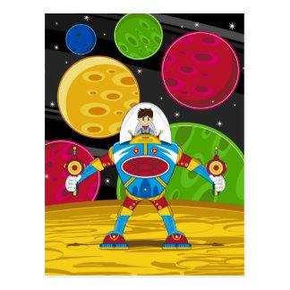 Spaceman & Mecha Robot on Planet Surface Postcard