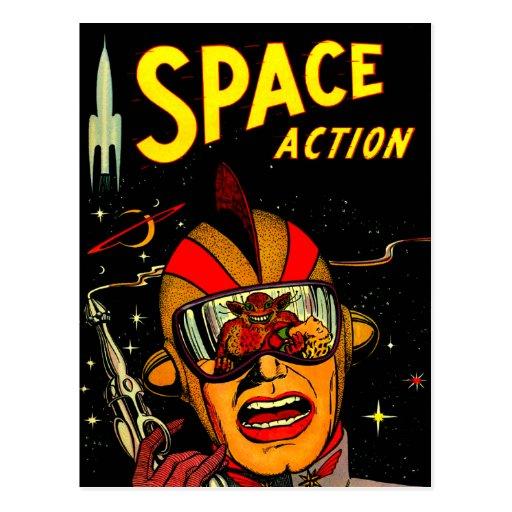 Spaceman Sci-Fi Astronaut Comic Art Post Card