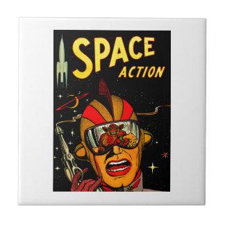 Spaceman Sci-Fi Astronaut Comic Art Tile