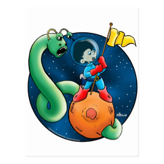 Spaceman Worm Post Card