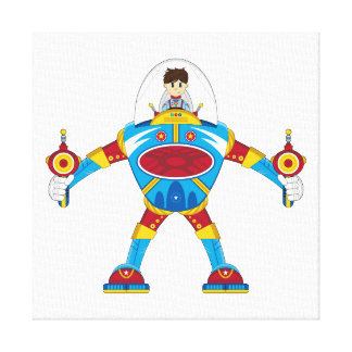 Spacemen In Giant Mecha Robot Stretched Canvas Print