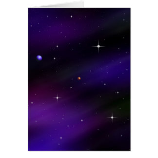 Spacescape With Planets and Stars Greeting Card