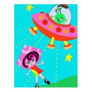 Spaceship Betty and an  Alien Invasion Postcard