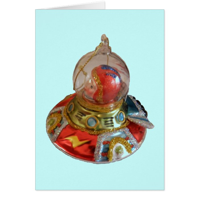 Spaceship Glass Christmas Ornament Greeting Card