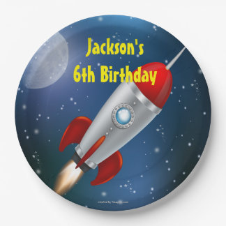 Spaceship, Moon Stars Birthday Party Paper Plate