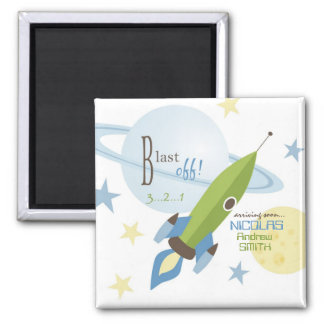 Spaceship & Planets Baby Shower Square Magnet
