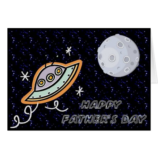 Spaceship & the Moon - Happy Father's Day Card