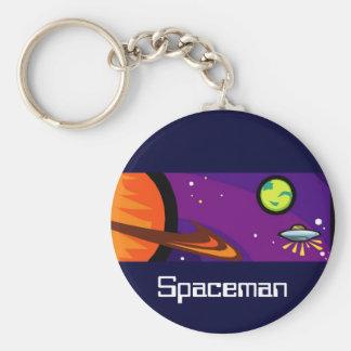 Spaceship to Saturn Basic Round Button Key Ring