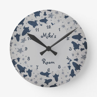 Spaceships Personalized Boy's Bedroom Round Clock