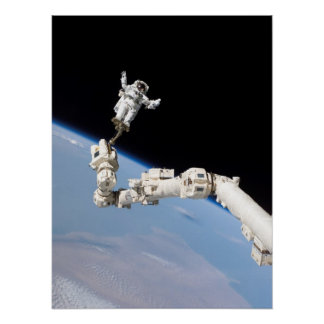 Spacewalk during STS-114 Shuttle Mission to ISS Poster