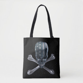 Spacey American Skull All-Over-Print Tote Bag