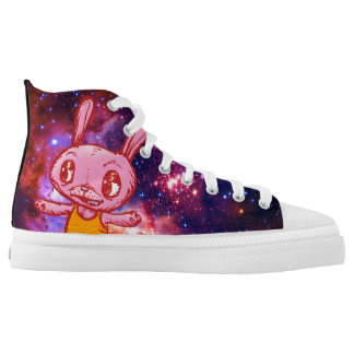 Spacey Bunny Rabbit High Top Shoes Printed Shoes