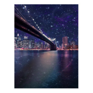 Spacey Manhattan Skyline Postcard