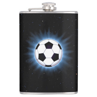 Spacey Soccer Ball 8 oz Vinyl Wrapped Flask