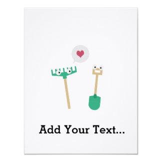 Spade and  Rake in love 11 Cm X 14 Cm Invitation Card
