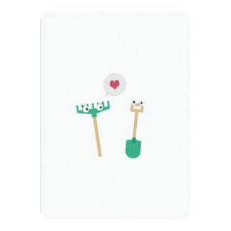 Spade and  Rake in love 13 Cm X 18 Cm Invitation Card