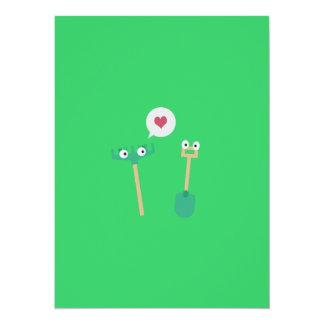 Spade and  Rake in love 14 Cm X 19 Cm Invitation Card
