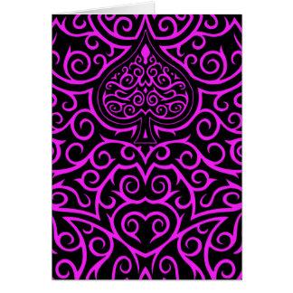 Spade & Scrollwork - Pink Card