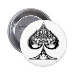 Spades 6 Cm Round Badge